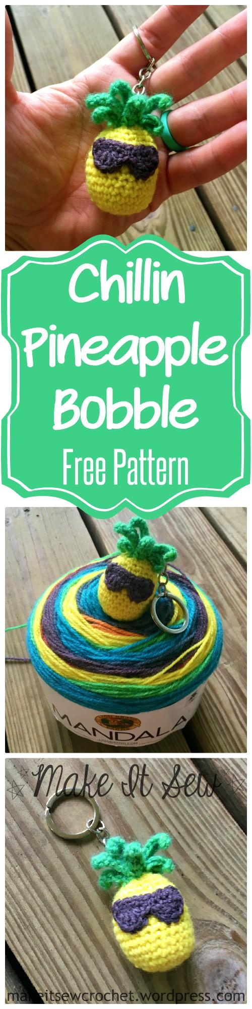 Chillin Pineapple Keychain Free Crochet Pattern Make It Sew Crochet Blog