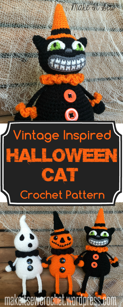 Vintage Inspired Halloween Cat Crochet Pattern Make It Sew Crochet Blog